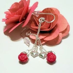 Delicate Puff Heart and Coral Roses Dangles